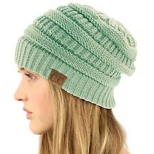 Unisex Winter Chunky Soft Stretch Cable Knit Slouch Beanie Skully Hat Cap Mint