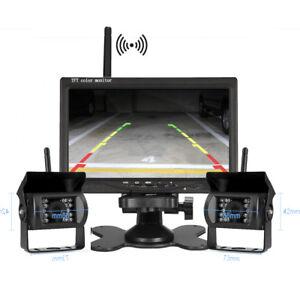 Wireless 7 Inch Rear View Monitor+2x CCD Reversing Camera 12-24v Trailer Van KIT