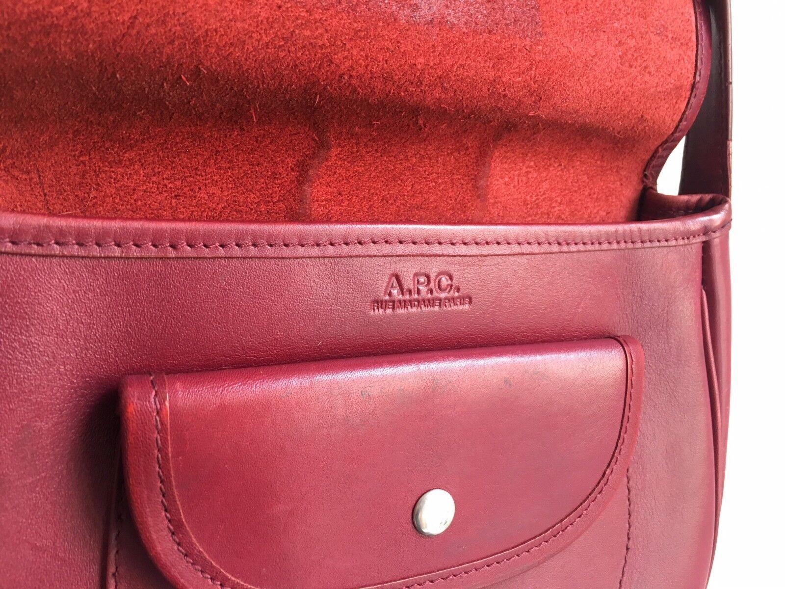 A.P.C Burgundy Red Leather Shoulder Bag - Half mo… - image 3