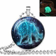 GLOW IN THE DARK WOLF LARGE PENDANT NECKLACE / Jewellery Gift Idea Werewolf