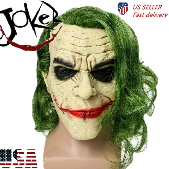 Joker Cosplay Horror Scary Clown Mask with Green Hair Wig Halloween Party Latex