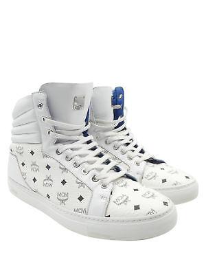 MCM White Leather with Black Heritage Print Sz 43/ 10 Hi Top Men's Sneakers