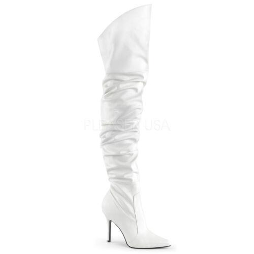 Classique-3011 elegante Frauen High Heels Overkneestiefel weiß Lederoptik 35-47