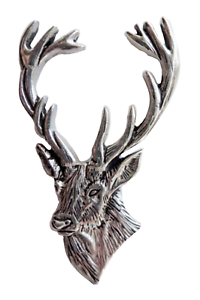 Stag-039-s-Head-Red-Deer-Pewter-Large-Pin-Badge-Hand-Made-in-Cornwall