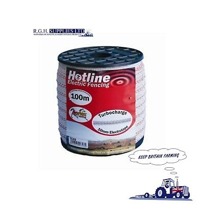 Hotline Electric Fencing TC49-1 White Turbocharge Tape 10mm x 100m 4 Conductors