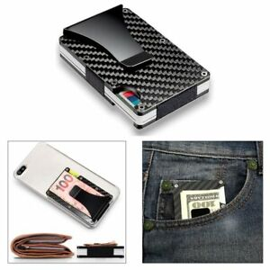 RFID Blocking Slim Wallet Purse Carbon Fiber Metal Credit Card Holder Money