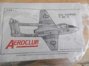 Details about AEROCLUB KIT 1/72 DE HAVILLAND VAMPIRE T 11 ( WITH WHITE  METAL PARTS)