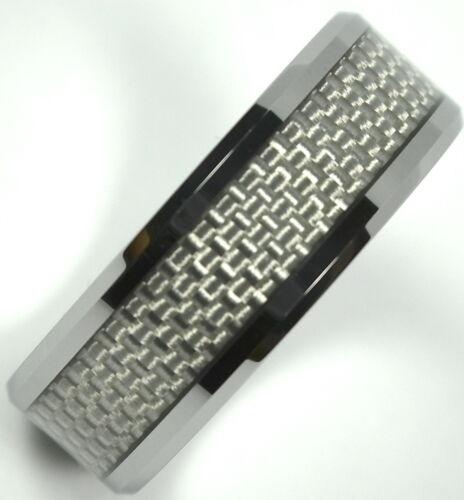 Tungsten Carbide Ring White Carbon Fiber Inlaid Wedding Band 8mm Unisex