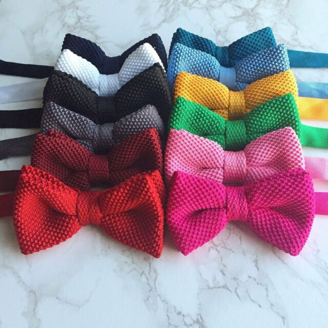 Men/'s Fashion Clip-On Striped Bowtie Knit Knitted Pre Tied Bow Tie Woven Floral