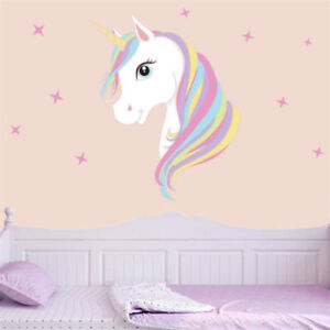 Details about Pink Rainbow Unicorn& Star Wall Sticker Kids Girl Bedroom  Quote Vinyl Wall Decal