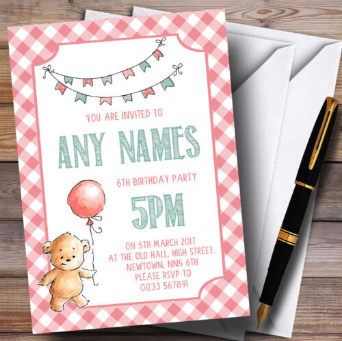 Jeunes filles rose nounours pique-nique Childrens Birthday Party Invitations