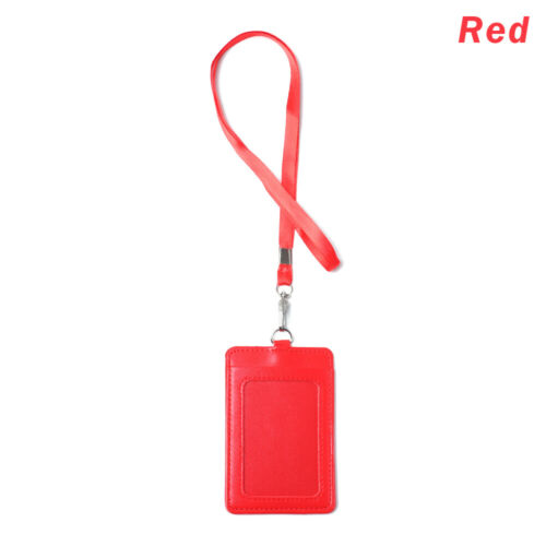 Style PU Leather Card Badge Holder Key Ring Clips ID Lanyard Name Tag Belt Clip
