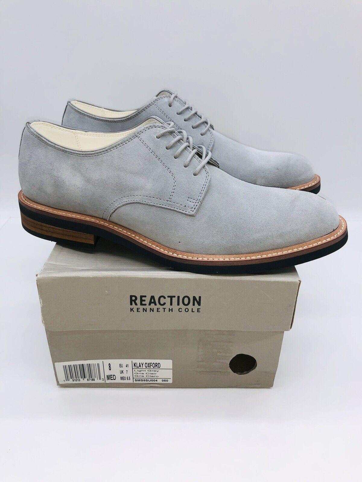 Kenneth Cole Reaction Men's Klay Lace Up Oxfords / Dress Shoes Light Grey US 8M