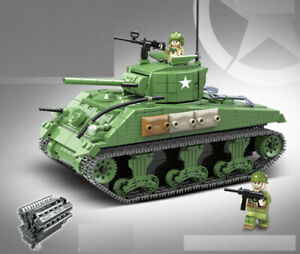 726PCS Military M4 Sherman Tank Building Blocks WW2 Soldier Figures Toy Model