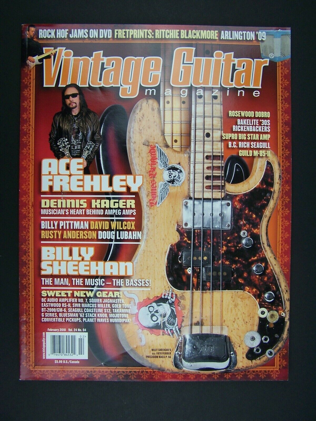 Vintage Guitar Magazine February 2010 Ace Frehley Cover