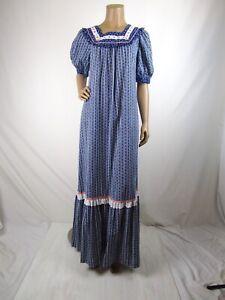 Holo-Holo-Prairie-Dress-MuuMuu-Vintage-70-039-s-Size-12-Blue-Floral-Eyelet-Hawaii