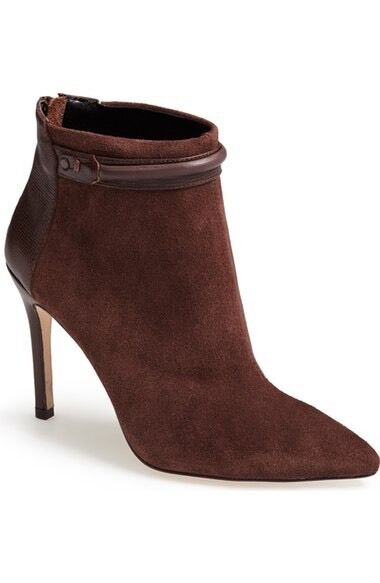 Charles David Gemini Brown Suede High Heel Pointed Toe Ankle Boots 219 8M