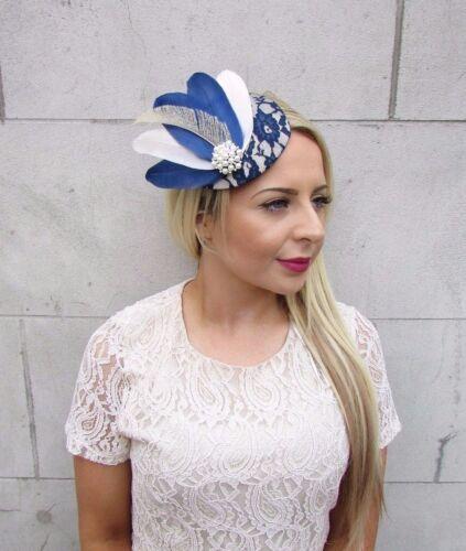 Navy Blue Cream Ivory Feather Fascinator Pillbox Hat Races Wedding Vintage 3713