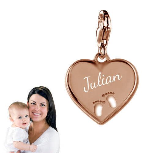 /&Gravur Charm Anhänger Herz mit ausgestanzten Babyfüßen-Silber925 Roségold
