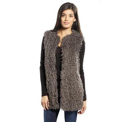 Mark and James By Badgley Mischka Faux Fur Vest Grey Gray jacket NEW