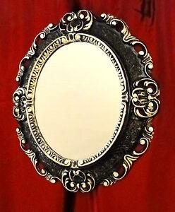 Espejo De Pared Antiguo Ovalado Negro Oro 45x37 Baño Barroco Oval Spiege Espejos