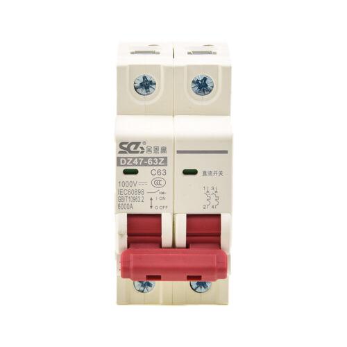 DC 1000V Solar Mini Circuit Breaker 10//16//32//50//63A Photovoltaic MCB Rail Mount