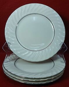 Image is loading TOTALLY-TODAY-china-WHITE-SWIRL-PLATINUM-Set-of- & TOTALLY TODAY china WHITE SWIRL PLATINUM Set of Four (4) Salad ...