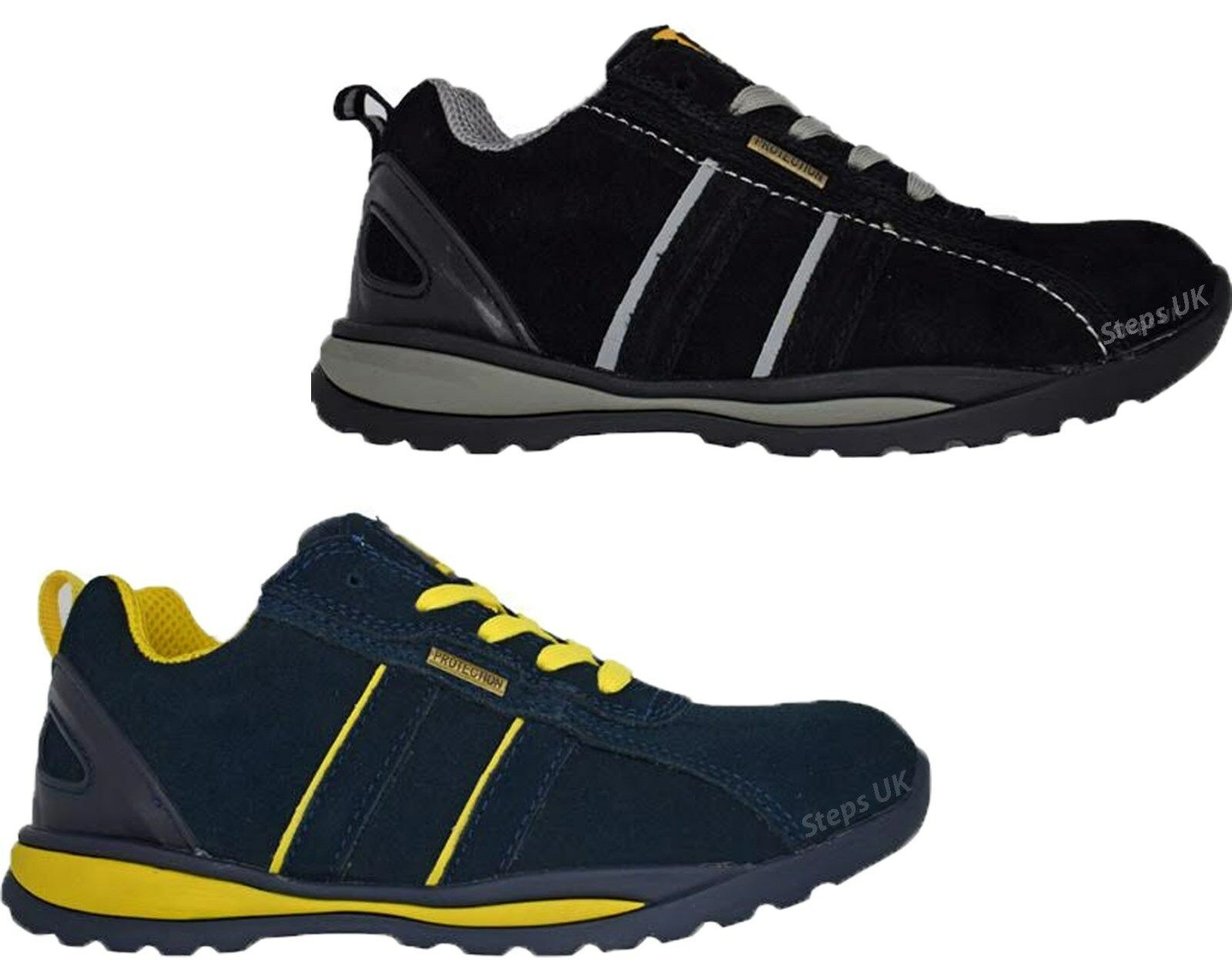 MENS SUEDUE LIGHTWEIGHT STEEL TOE CAP SAFETY TRAINER WORK LACE UP SHOES BOOTS SZ