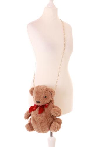 LB-183-1 Braun Teddy Schleife Plüsch Damen Tasche Lolita Pastel Goth Kawaii