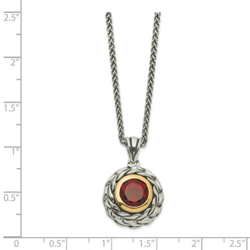 """Details about  /.925 Sterling Silver /& 14k Gold Accent Garnet Swirl 18/"""" Neckalce Shey Couture"""