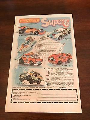 SEAFIRE 1976 VINTAGE 6.5X10 COMIC TOY PRINT AD FOR MATCHBOX Super 6 Formula 500