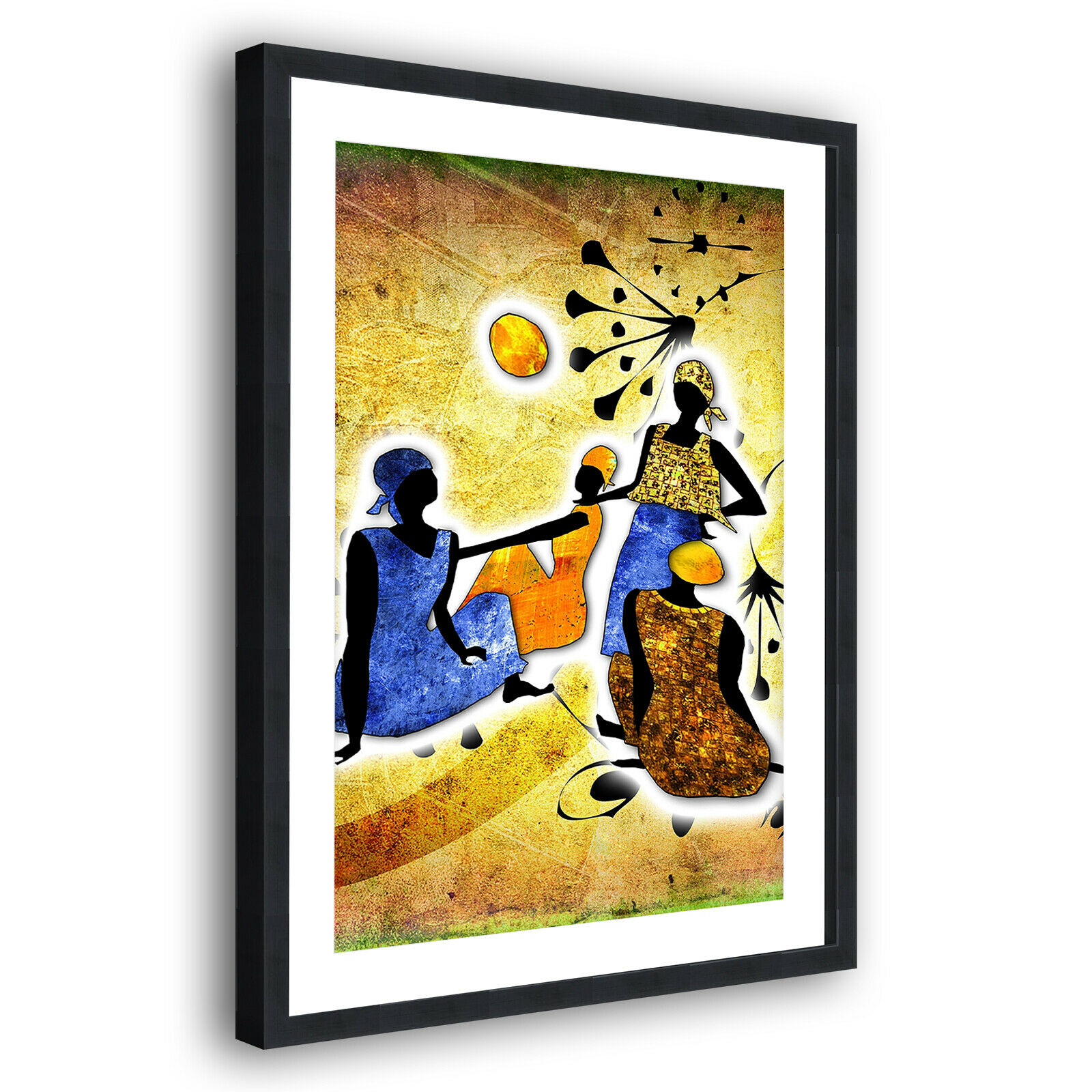 Gelb African Style Modern Portrait Abstract Framed Wall Art Picture Print