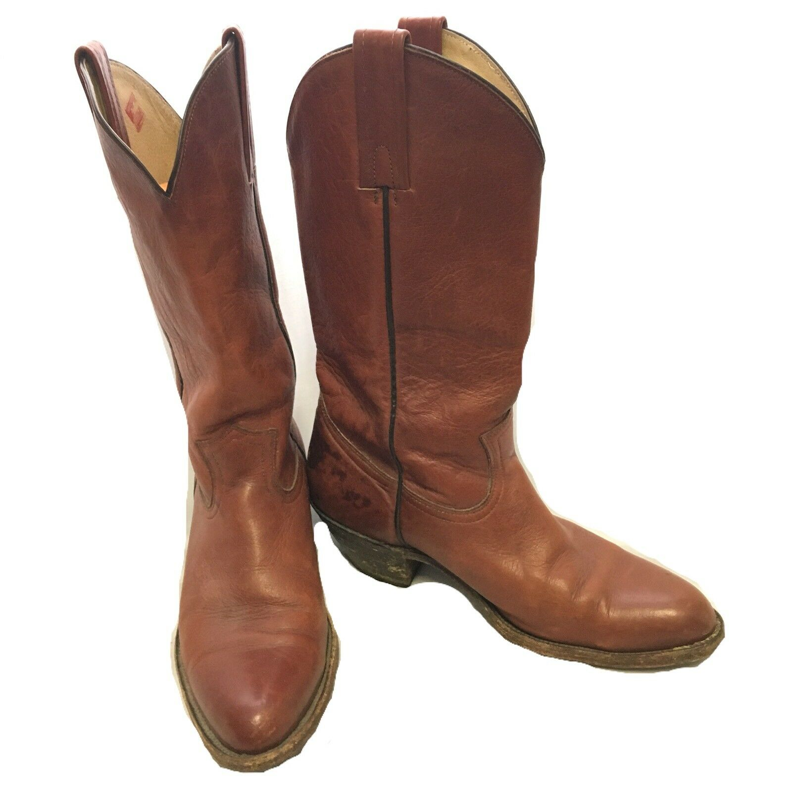 FRYE MENS 11D Cowboy Boots Brown Vintage Western Rodeo Leather