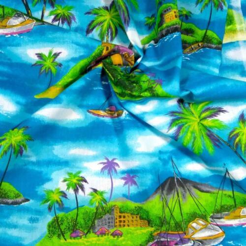 Mokupuni Half-yard Hawaiian Print Hale /& Wa/'a Moana Scenic Kumu N/'iu