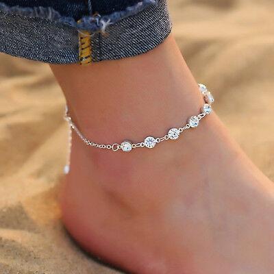 Silber Edelmetall ☆ Lovely Luster ☆ Silberne Fußkette Diamanten Damen Länge 21-26cm