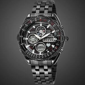 Infantry-Mens-Quartz-Watch-Black-Face-Stainless-Steel-Belt-Date-Digital-Sport