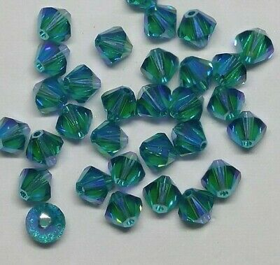 Swarovski Crystal Limited Edition Emerald Shimmer 2X Bicone Beads; 4mm// 6mm