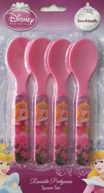 DISNEY PRINCESS CUTLERY 4 SPOONS REUSUABLE PARTYWARE
