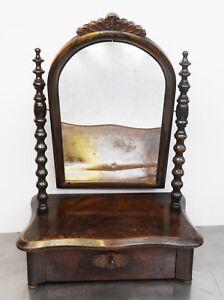 Antiker-Gruenderzeit-Spiegelaufsatz-Nussbaum-Klapp-Spiegel-Psyche-1860-80