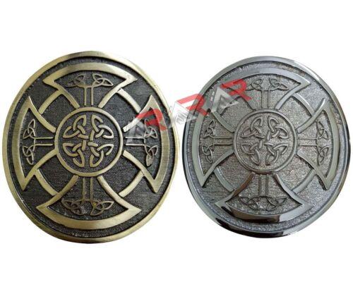 Round Celtic Knot Kilt Belt Buckle Highland Belt Buckle Celtic Antique Chrome
