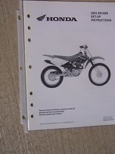 2003 honda motorcycle scooter xr100r set up instruction manual rh ebay com