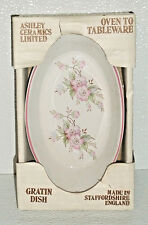 Ashley Ceramics Au Gratin Dish NEW In Box Pink Floral Staffordshire England