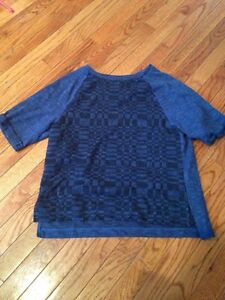 NWT-OLD-NAVY-Womens-Blue-Black-Short-Sleeve-Sweater-Top-Size-Large