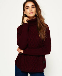 New-Womens-Superdry-Cable-Cape-Jumper-Brave-Plum