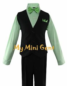 95c6a178 Boys 4PC Solid Black Vest Suit Set with Green Stripe Dress Shirt and ...