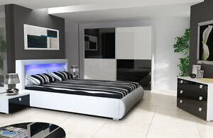 High Gloss King Size Storage Bed Bedroom Set Lano Ebay