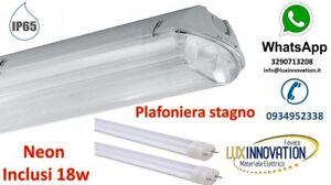 Plafoniera stagno 2x36 con neon led t8 ip 65 per for Vasca per stagno