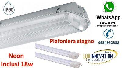 Illuminazione Ufficio Neon.Plafoniera Stagno 2x36 Per Illuminazione Esterna Garage