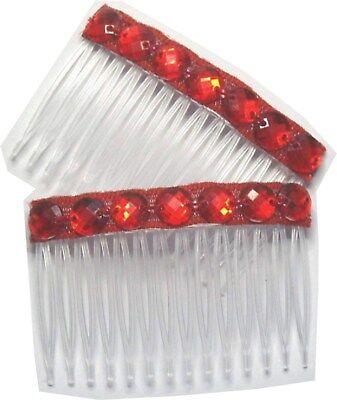 2 x RED CRYSTAL DIAMONTIE FANCY HAIR SLIDE COMB