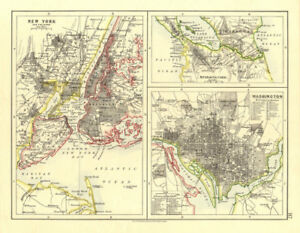 Details about US CITIES/NICARAGUA CANAL.New York & Washington plans.  JOHNSTON 1906 old map